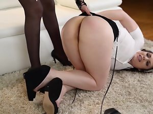 Erotic Dominatrix Fists her Duteous Sluts Shaved Pussy